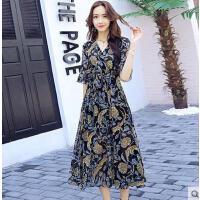 新款时尚喇叭袖印度假沙滩大摆裙花连衣裙夏波西米亚雪纺长裙可礼品卡支付
