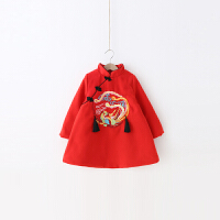 女童连衣裙冬杨梅童装2017新款儿童夹棉旗袍裙宝宝中国风长袖裙子 红色
