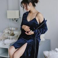 睡衣女秋冬丝绒两件套性感V领吊带睡裙睡袍金丝绒睡衣家居服套装
