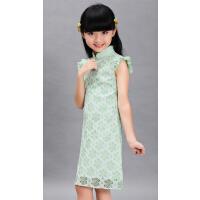 儿童装秋装花袖新款蕾丝小女孩唐装中大童连衣裙子女童旗袍裙
