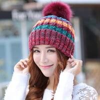 帽子女秋冬季韩版时尚拼色百搭针织帽保暖加厚加绒毛球护耳毛线帽