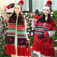 冬季韩版毛线针织保暖围巾手套帽子三件套装圣诞小鹿女友生日礼物