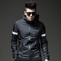 男士夹克 连帽秋季新款时尚修身外衣运动春秋外套男 黑色