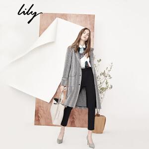 【每满200减100】Lily2018秋新款风衣女装OL帅气格纹风衣系带中长款风衣118110C1205