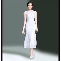 夏气质时尚白色中长款无袖性感修身包臀鱼尾重工刺绣礼服连衣裙女 白色