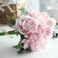 【汲吉香家居】单束玫瑰卧室仿真花家居装饰品塑料花束室内客茶几厅摆设把束假花