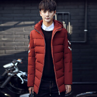 冬季保暖爸爸装羽绒服男韩版修身青年中长款白鸭绒外套连帽领外衣