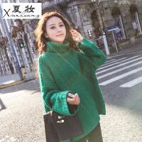 夏妆推荐!圣诞新年毛衣高领镂空套头毛衣针织衫外穿女韩版长袖 均码 (现货,高品质)