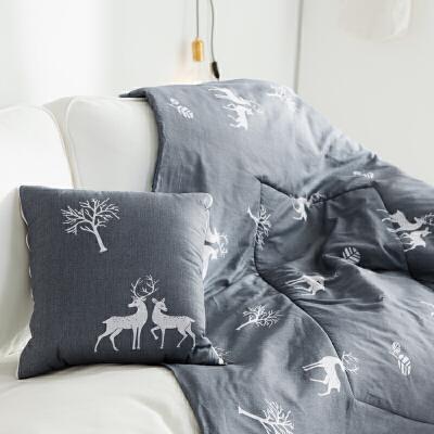 全棉午睡抱枕被子两用空调被多功能汽车靠垫沙发枕纯棉简约小被子