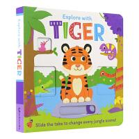 【首页抢券300-100】Explore with Tiger 和小老虎一起冒险 儿童推拉机关书 英语绘本简单儿歌 锻炼