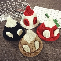 儿童帽子秋冬季加厚尖尖帽男女宝宝帽子1-2岁婴儿帽6-12个月保暖