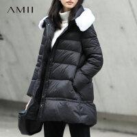 Amii[极简主义]冬新百搭毛领宽松A型中长款90绒羽绒11684060.