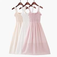 2018夏季新款韩版小清新木耳花边沙滩长裙纯色仙女气质吊带连衣裙