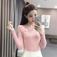 2018春夏新款韩版打底针织衫百搭修身一字领套头长袖毛衣女