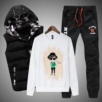 冬装学生13大童14秋冬男孩加绒加厚卫衣三件套青少年运动套装