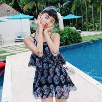 泳衣女分体式性感韩版小清新比基尼三件套学生保守度假黑色游泳衣