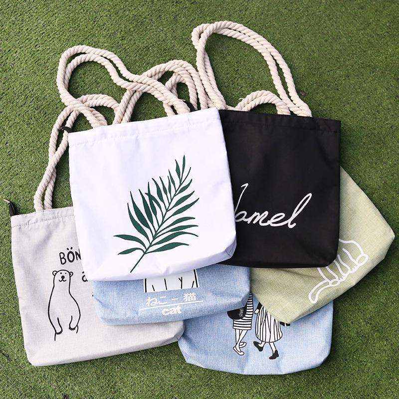帆布单肩包女包包日韩简约文艺大包手提包斜挎包帆布袋购物袋