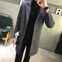 毛呢大衣男中长款冬青年韩版修身风衣韩国羊毛妮子大衣外套加厚潮 深灰色 XL