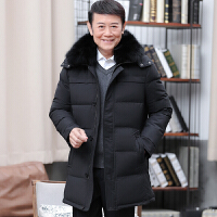 新款中年男士休闲大码加厚保暖防寒中长款老年羽绒服爸爸男装外套 黑色 170/M