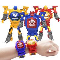 儿童变形电子手表金刚玩具学生创意卡通多功能变身机器人手表男生