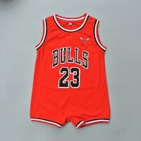 夏季婴儿篮球连体衣公牛湖人队服宝宝平脚纯棉运动儿童哈衣爬服