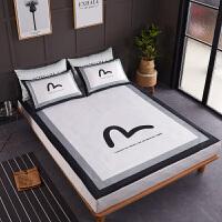 冰丝凉席三件套潮牌福神evisu可折叠水洗1.5夏季空调软席子1.8m床 黑白色