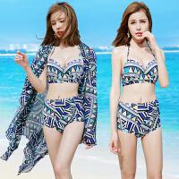 泳衣女 性感三件套比基尼显瘦时尚新款钢托小胸聚拢温泉泳装 蓝色