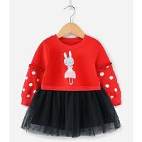 女童红色连衣裙1-6儿童长袖婴儿春装小童公主裙春秋5一岁宝宝裙子