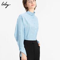 【2件4折到手价:259.6元】 Lily2020春新款女装通勤撞色印花宽松套头长袖上衣雪纺衫8912