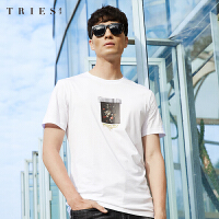 才子男装tries短袖T恤男士2020夏季新款休闲印花修身纯棉圆领打底汗衫