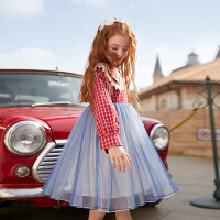 女童�B衣裙春秋�b中大童�和��b小女孩裙子春季公主裙