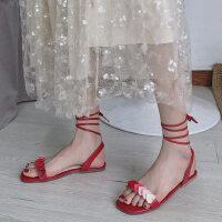 户外时尚女鞋度假风平底绑带罗马凉鞋女温柔系带百搭仙女鞋潮