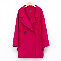 【2件3折 到手价:219元】高梵女士新款羊毛呢双面呢大衣中长款外套