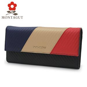 Montagut/梦特娇钱包女士拼色三折钱夹简约时尚长款手包多卡位车缝线票夹