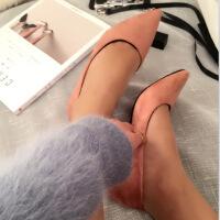 职业性感黑色高跟鞋女绒面细跟显瘦尖头优雅百搭ol单鞋7cm春秋季