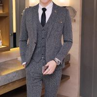 男士西服套装韩版修身小西装休闲商务正装新郎结婚礼服帅气三件套