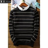 毛衣衬衣领假两件针织衫男韩版潮流学生秋冬款加绒加厚保暖打底衫