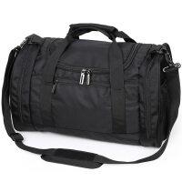 大容量旅行包户外运动训练健身背包男单肩斜挎篮球包行李袋圆筒包 黑色 大