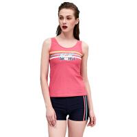 新款温泉青春时尚遮肚保守分体平角裤式泳衣女 粉红色 M