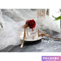 红色喜糖盒 欧式 玫瑰花喜糖盒透明森系婚礼用品伴手礼哲糖 红色大玫瑰+金果实+香槟细带 大红色渐变(50个起