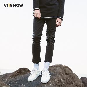 VIISHOW秋装新品纯色休闲长裤男简约黑色男士裤子个性小脚裤