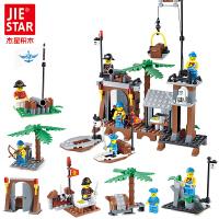 拼插积木拼装玩具男孩海贼王玩具海盗基地12合1组装