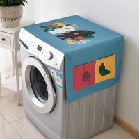 全自动滚筒洗衣机棉麻防水盖布卡通盖巾冰箱盖防尘罩布定制 (防水升级)