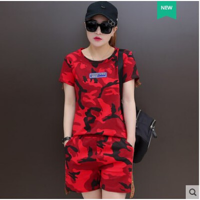 韩版潮流迷彩短袖短裤套装 女时尚新款五分裤休闲两件套大码显瘦运动服 品质保证 售后无忧 支持货到付款
