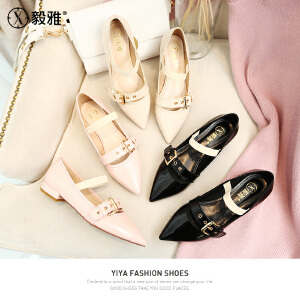 【毅雅】2018春款松紧带女鞋低跟单鞋女尖头平底鞋一字扣玛丽珍鞋 YD8WM1808