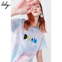 Lily2019夏新款女装趣味扎染字母泫雅宽松休闲圆领短袖T恤女8982