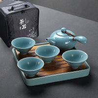 汝窑功夫茶具套装汝瓷整套旅行简易茶具茶壶茶杯办公家用陶瓷茶盘 7件