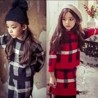 亲子装母女韩国童装秋冬新韩版女童毛衣半裙中大童格子套装潮