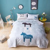 家纺纯棉夏被单双人薄被子四季盖被全棉花夏凉被儿童婴儿午睡毯空调被