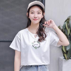 【每满200减100元】小清新短袖t恤女装2018夏装新款韩版宽松百搭T恤上衣
